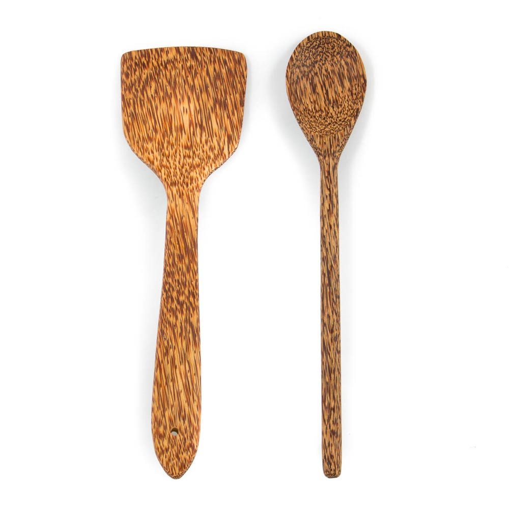 studio TR Kokosholz Pfannenwender braun ungefärbt zum Kochen oder Servieren von Speisen Coconut wood cooking spatula brown undyed for cooking and serving food