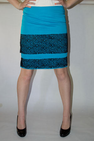 pencil skirt- lace stripe