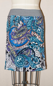 paisley print knit pencil