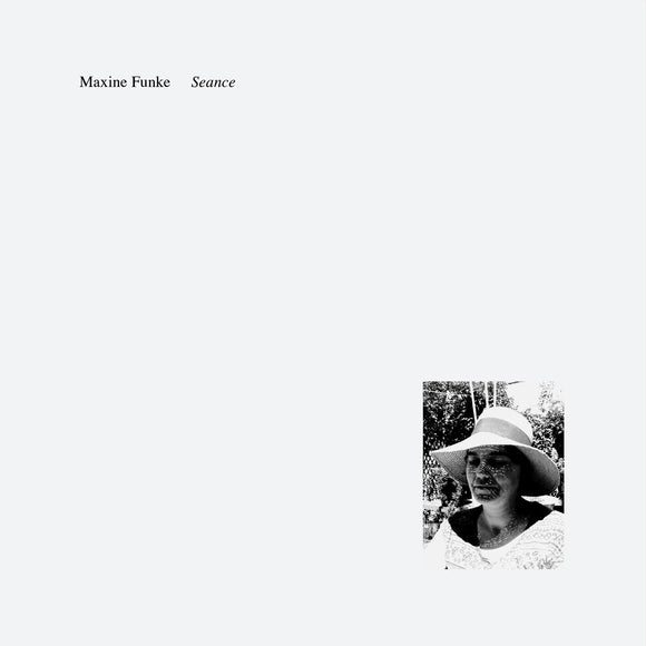 Séance by Maxine Funke on A Colourful Storm (the album cover is white with a small rectangular black and white photograph of Maxine Funke with her eyes closed beneath a sun hat that light dapples through; at the top-left of the sleeve is the artist name and album title in small title-case serif type)