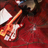 On A Promise by Boyracer on Emotional Response Records (album cover is a photograph of two guitars entwined on a red floor; the photograph is beneath shattered glass; no text or other design is present on the cover)