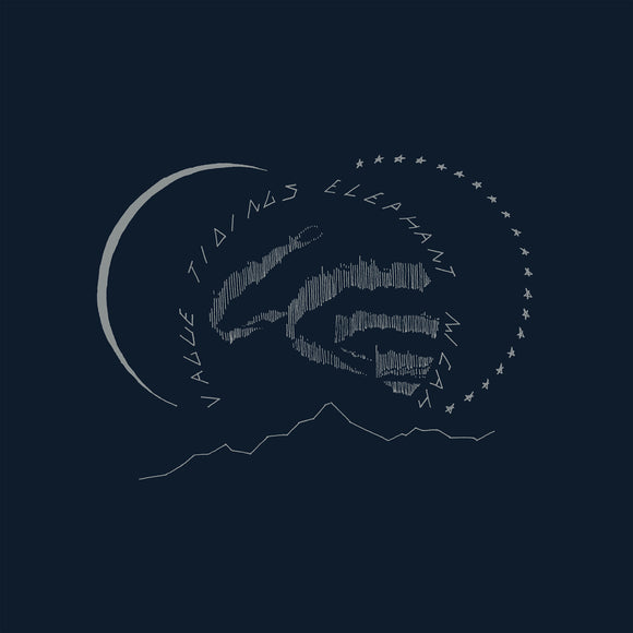 Vague Tidings by Elephant Micah on Western Vinyl (the album cover is a silver ink minimal abstract landscape illustration of a night sky above a mountain range on a solid navy blue background. The sky is made of three circles: on the left a slim crescent moon; mirroring this on the right, a half-circle of stars; and in the centre, within the curving text of the album title and artist name, is the shape of the aurora borealis)