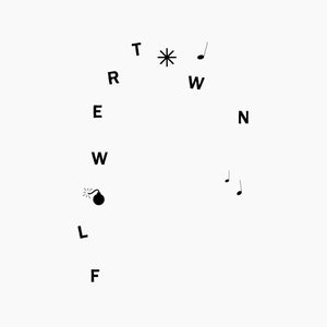 Flowertown's self-titled debut album on Mt. St.Mtn Records (the album cover is plain white with the letters of the band name arranged in a non-linear design in a black uppercase sans-serif type; an icon of a round bomb replaces the first 'O' and and asterisk replaces the second 'O.' There are also three musical notes arranged seemingly randomly)