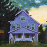 Mattew J. Rolin's self-titled debut album on Worried Songs (the album title is a full-sleeve painting of a lilac wooden three story house. In the painting, there is part of a dark tree in the foreground; in the foreground is a dramatic cloudy sky, with the sun breaking through above the roof of the house).