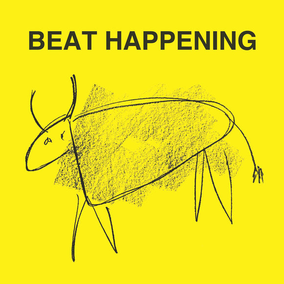 Crashing Through EP by Beat Happening on Optic Nerve Records (the sleeve features a simple illustration of an cow-like animal on a yellow background; above the illustration is the band name in sans-serif font).
