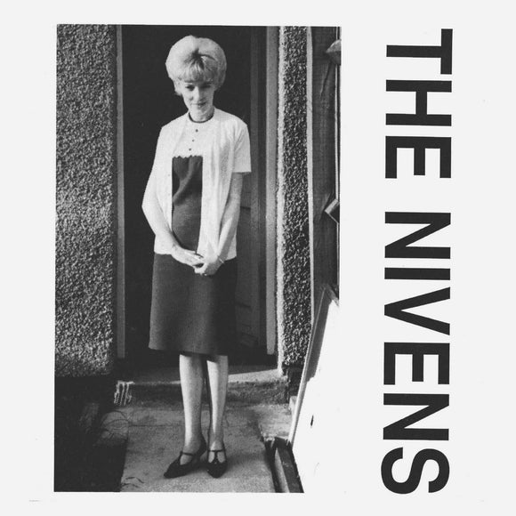 Yesterday by The Nivens on Optic Nerve Recordings (the sleeve art features a black and white photograph of a woman in 'sixties fashion stood in front of a door in a pebble-dashed house; the photograph is on a white background, and the band name is written down the right-hand side in a bold sans-serif font).