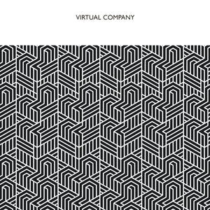 Virtual Company's self titled CD on Confront Recordings (part of the Core Series, the album cover has a white band across the top with the words Virtual Company in all-caps black letters; beneath this is a black and white geographical repeating pattern)
