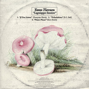 "Lagniappe Session 12"" EP by Yann Tiersen on Mute Records (artwork shows an illustration of a mushroom)"