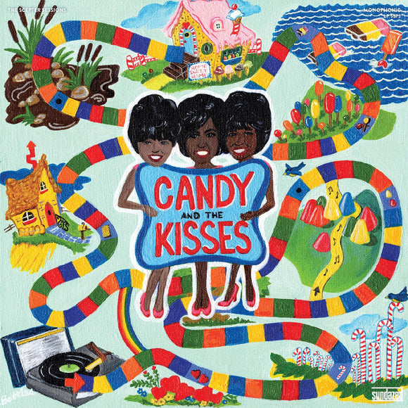The Scepter Sessions by Candy And The Kisses on Sundazed Records featuring artwork by Lisa Battles (the album cover is a colourful painted depiction of Candy Nelson, Suzanne Nelson, and Jeanette Johnson (AKA Candy And The Kisses) in the centre of a candy-themed board game)