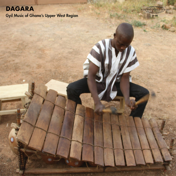 Dagara: Gyil Music of Ghana's Upper West Regions by Dagar Gyil Ensemble of Lawra (the album cover is a photograph of a musician in a striped top playing the Gyil xylophone outdoors).