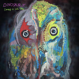 Sweep It Into Space by Dinosaur Jr on Jagjaguwar Records (the album cover is a colourful abstract shape with two eyes against a dark background; The band name and album title are hand-written in purple and green respectively in a familiar style to other Dinosaur Jr releases)