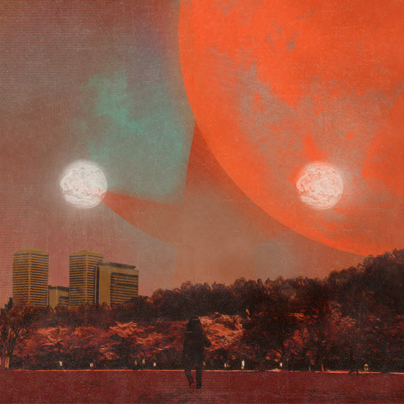 I, Castorpollux by Erika Dohi on 37d03d Records (the album cover is a red-tinged painting depicting large planets or moons over a park and city; a figure stands in the centre of the flat foreground).