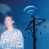 Banane Bleue by Frànçois & The Atlas Mountains on Domino Records (the album sleeve is a photograph of Frànçois Marry superimposed over a photograph of a telegraph pole against a blue sky with light clouds; blue bananas emanate from the top of the telegraph pole lie radio waves)