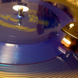 The square blue of flexi on the turntable