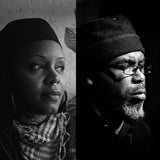 Black and white photographs, side by side, of Matana Roberts and Pat Thomas