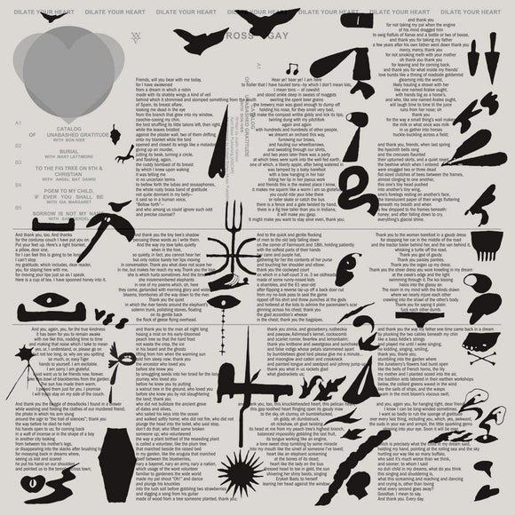Dilate Your Heart by Ross Gay on Jagjaguwar Records (the album sleeve is four columns of text from Gay's poems, with black illustrations over the top. These illustrations are abstract in nature, almost doodle-esque, but seem to convey various objects, animals or plants