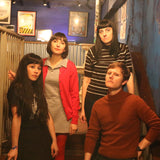 "Seablite band photo (the photograph shows the four members of the band standing at the top of a wooden staircase; the room there are in has dark blue walls and framed pictures on the wall; no one is the photograph is really smiling, which would make them look a little bit tough, except that their clothes say ""forever indie-pop"")"