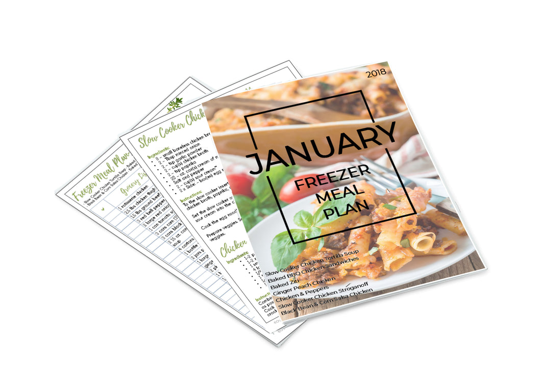 Freezer Meal Plan January 2018