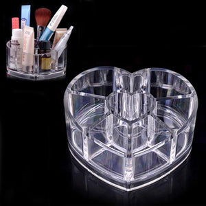 Exquisite  Clear Acrylic Heart Shaped Cosmetic Lipstick Brush Holder Makeup Case