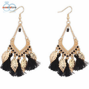 SUSENSTONE Bohemian Fashion Leaves Earrings