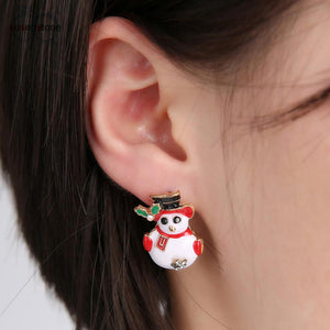 SUSENSTONE Christmas Fashionable Joker Snowman Stud Earrings