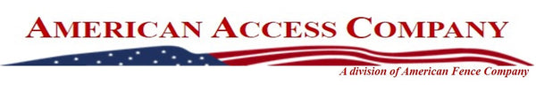 "The American Access Company logo. ""American Access Company"" is written in red above an American flag. The words ""A division of American Fence Company"" are written below the flag"
