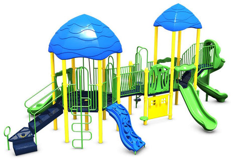 Large playground with blue, green and yellow pieces with several ladders and slides