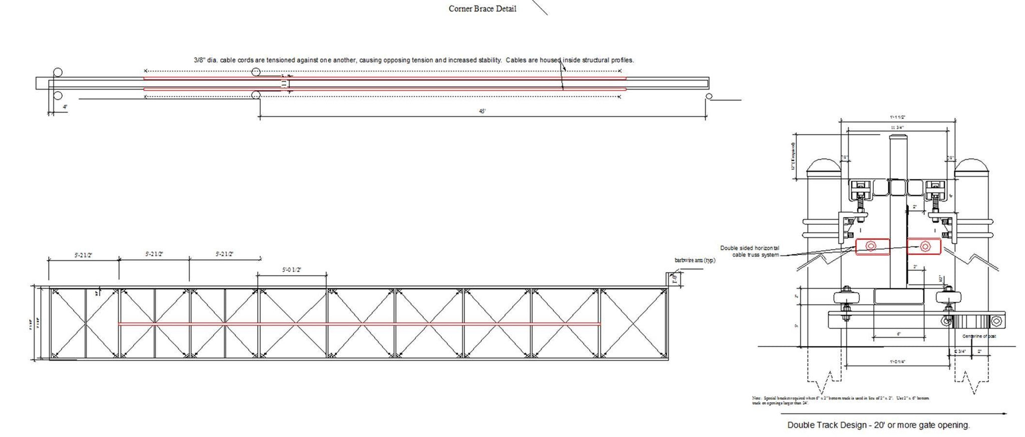 Corner brace detail for a horizontal cantilever truss system