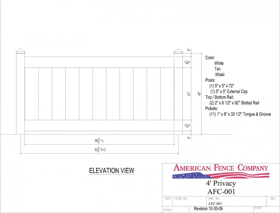AFC-001   4' Tall x 8' Wide Privacy Fence