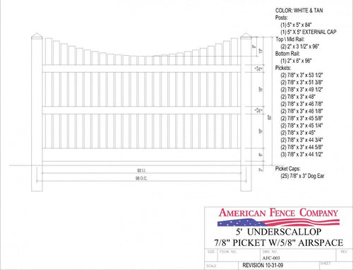 "AFC-003   5' Tall x 8' Wide Underscallop Fence with 5/8"" Air Space - White"