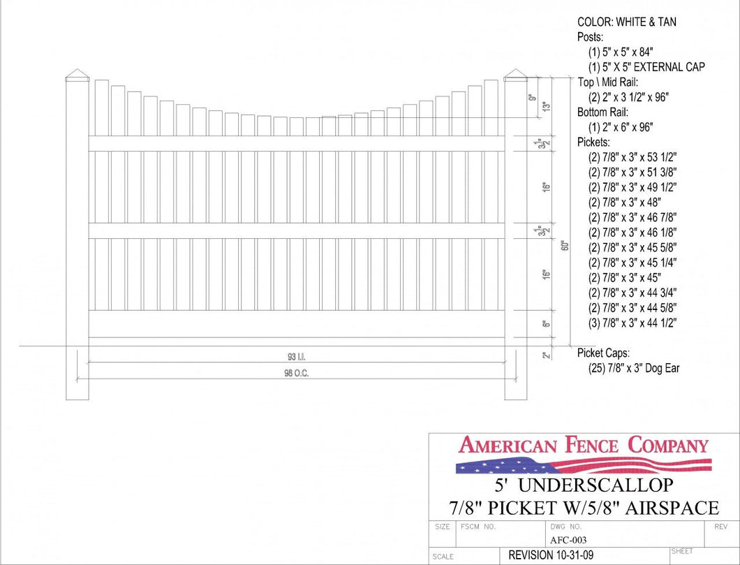 AFC-003   5' Tall x 8' Wide Underscallop Fence with 5/8