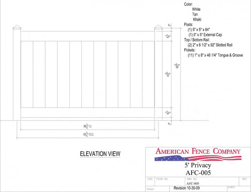AFC-005   5' Tall x 8' Wide Privacy Fence - White