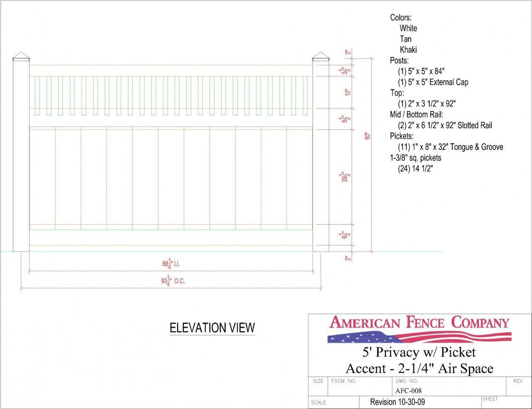 AFC-008   5' Tall x 8' Wide Privacy Fence with Picket Accent with 2-1/4