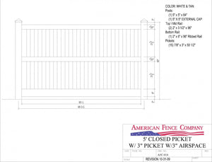 "AFC-014   5' Tall x 8' Wide Closed Picket Fence with 3"" Air Space"