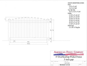 "AFC016F   4' Tall x 6' Wide Overscallop Picket Fence with 3"" Air Space"