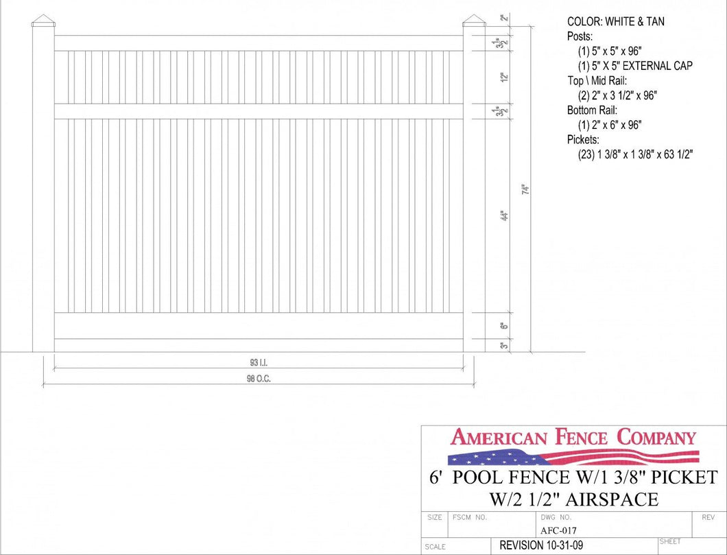 AFC-017   6' Tall x 8' Wide Pool Fence with 2-1/2