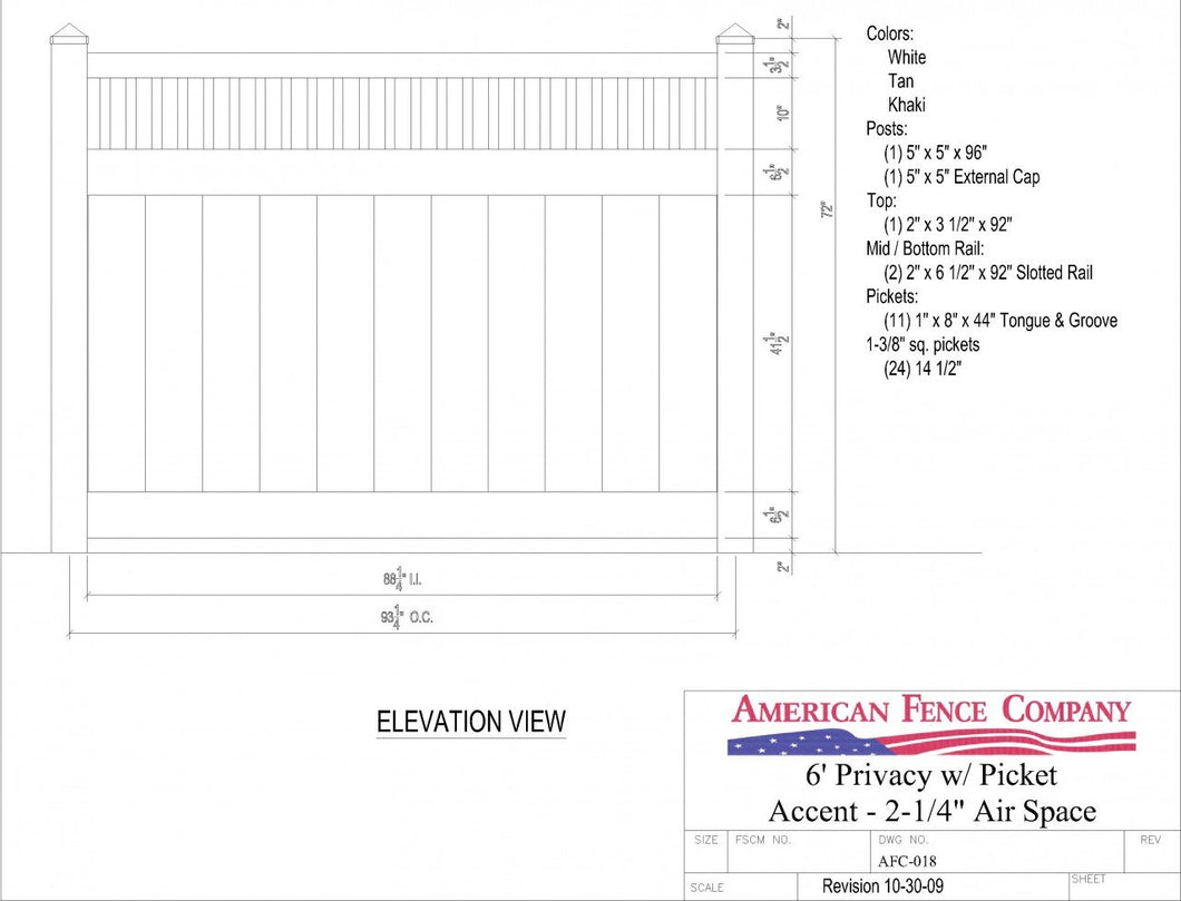 AFC-018   6' Tall x 8' Wide Privacy Fence with Picket Accent