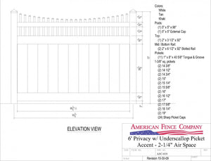 AFC-019   6' Tall x 8' Wide Privacy Fence with Underscallop Picket Accent