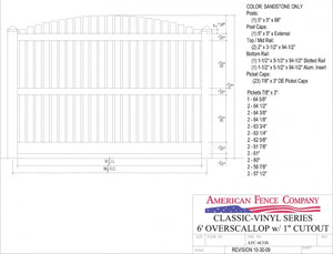 "AFC-6COS   6' Tall x 8' Wide Overscallop Fence with 1"" Air Space"