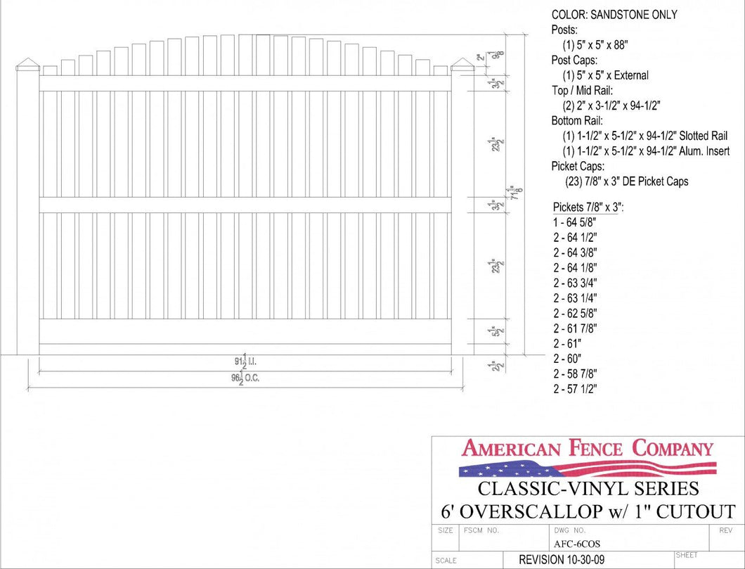 AFC-6COS   6' Tall x 8' Wide Overscallop Fence with 1
