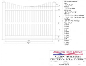 "AFC6CUS   6' Tall x 8' Wide Underscallop Picket Fence with 1"" Air Space"