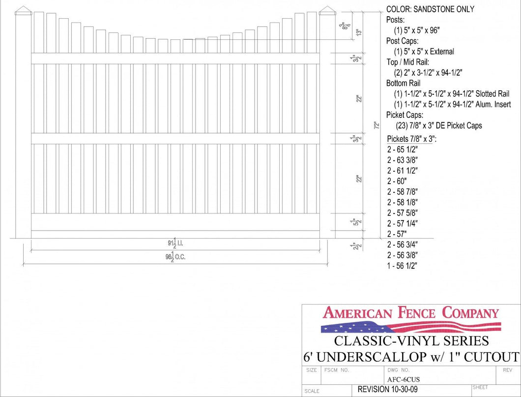 AFC6CUS   6' Tall x 8' Wide Underscallop Picket Fence with 1
