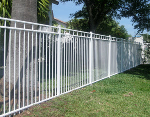Aluminum Ornamental Flat Top Series F 3-Rail - Standard Picket