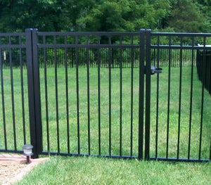 9' Aluminum Ornamental Single Swing Gate - Flat Top Series A - No Arch