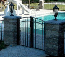14' Aluminum Ornamental Double Swing Gate - Flat Top Series C - Over Arch