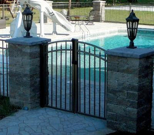 over arch double swing driveway gate