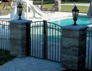 6' Aluminum Ornamental Double Swing Gate - Flat Top Series C - Over Arch