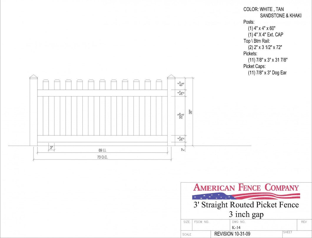 K-14   3' Tall x 6' Wide Tall x 6' Wide Straight Routed Picket Fence with 3