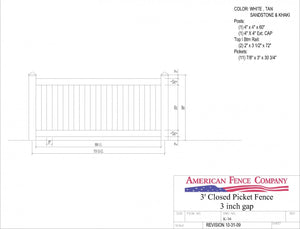 "K-16   3' Tall x 6' Wide Closed Picket Fence with 3"" Air Space"