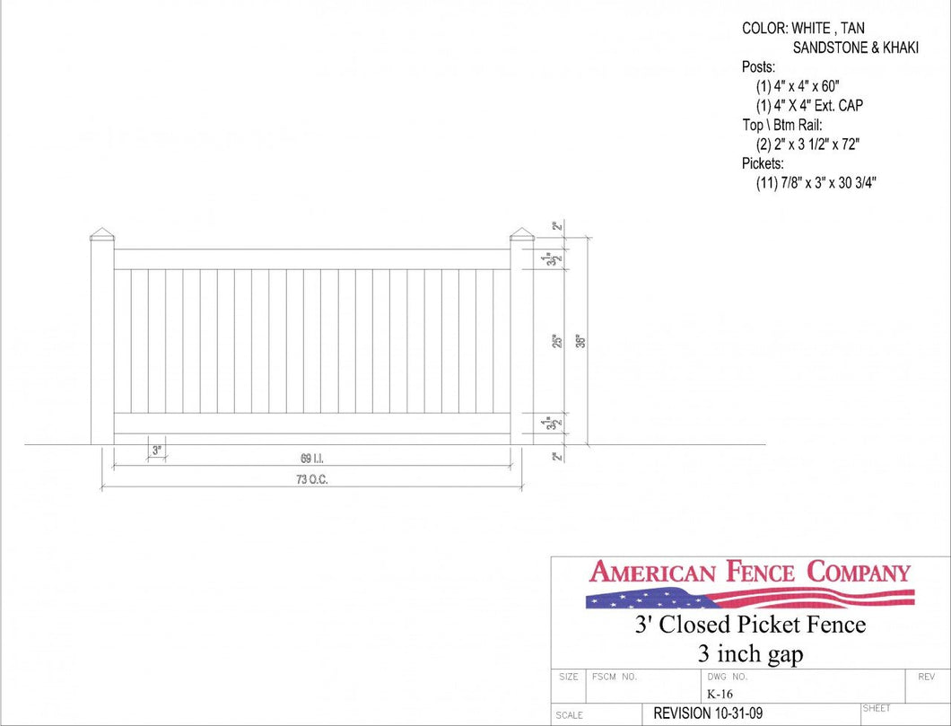 K-16   3' Tall x 6' Wide Closed Picket Fence with 3